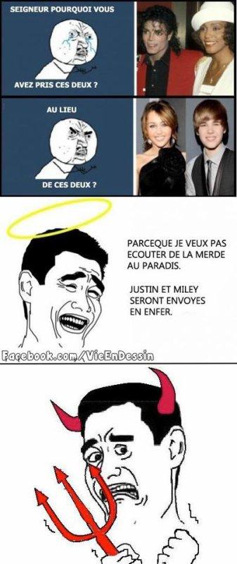 Michael Jackson est au Paradis tandis que Justin Bieber ira en Enfer