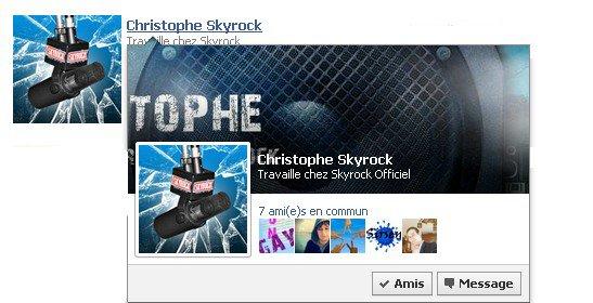 Les infobulles Skyrock ressemble beaucoup aux infobulles Facebook