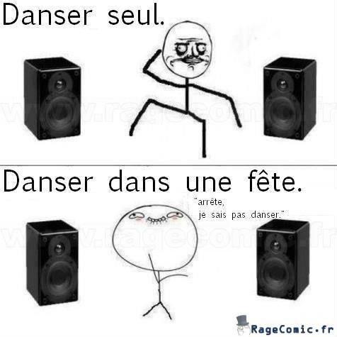 Danser seul et dans une fête
