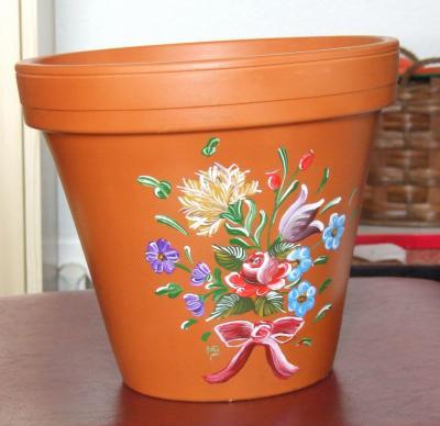 Pot De Fleur Peinture Paysanne