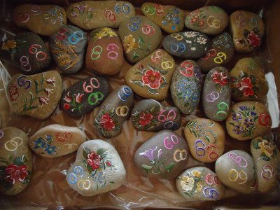 Galets Decoration De Table Pour 60ans De Mariage Peinture Paysanne