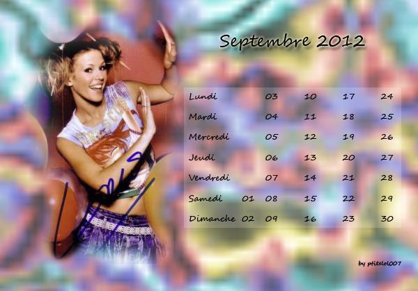 Calendrier de Septembre à Décembre 2012 aux couleurs de Lorie