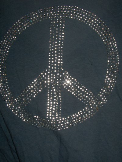 Tee shirt long Peace and Love taille 34/36.