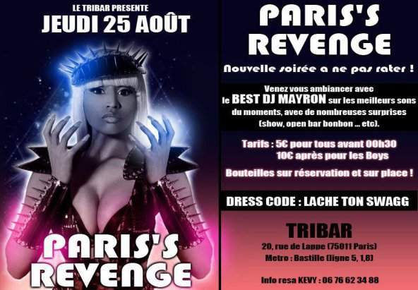 Jeudi 25 août @u Tribar >>> Paris's revenge