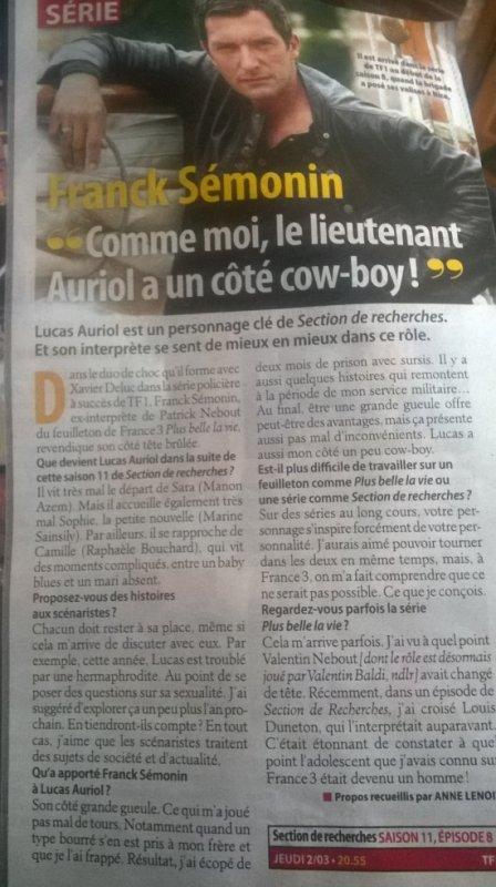 Article de Télé Loisirs Franck Sémonin