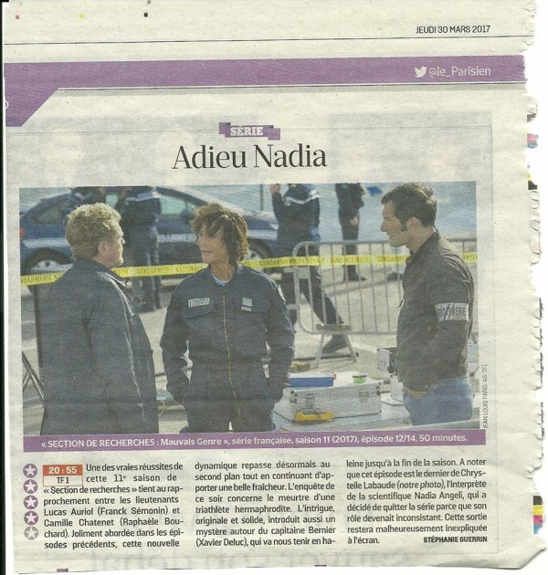 Adieu Nadia....Article Le Parisien
