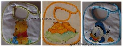 Fraldinhas, babetes e toalha de banho