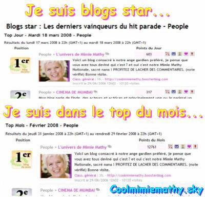 Mon blog star, lol Un grand merci a tous ceux qui ont voté pour moi.