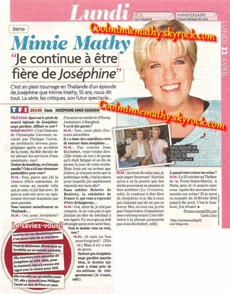 Magazine presse/interview Je continue à être fière de Joséphine Télé star n°1907 - avril 2013