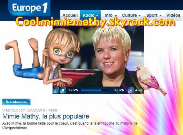 Emission - Télévision - Vidéo  Europe 1 radio 08/02/2010  Mimie Mathy, la plus populaire