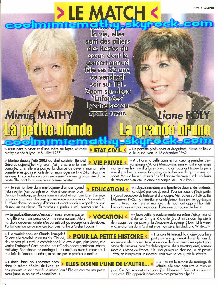Magazine presse/interview Ici Paris n°3584 match Mimie Mathy vs Liane Foly mars 2014
