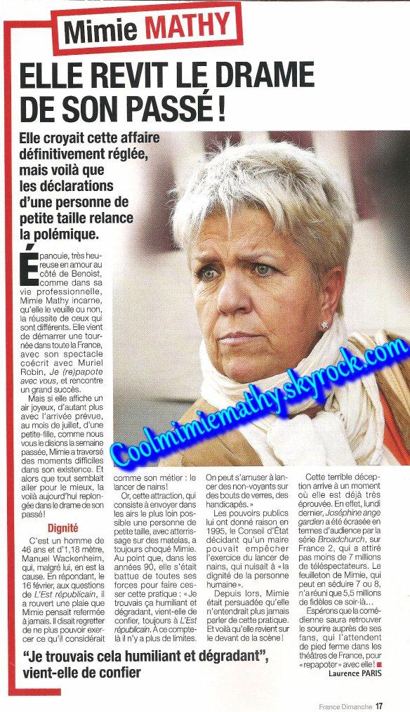 Magazine presse/interview  France dimanche n°3521 du 21 au 27 février 2014 elle revit le drame de son passé