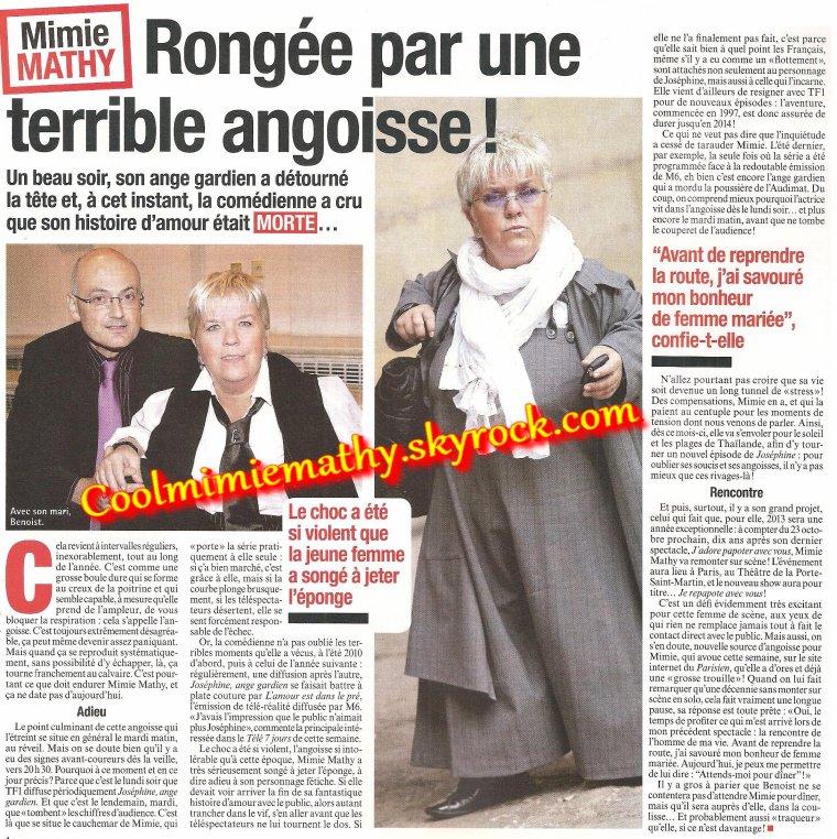 Magazine presse/interview  France dimanche n°3470 du 1er au 7 mars 2013 rongé par une angoisse
