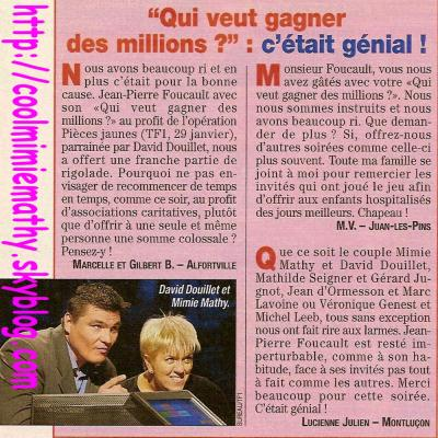 Article presse/interview      Qui veut gagné des millions ???????  Magazine de Télé Star du 16 au 22 février 2002