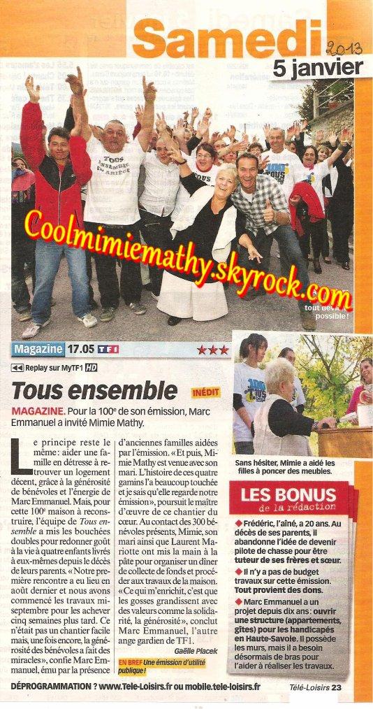 Magazine presse/interview Tous ensemble la 100 éme