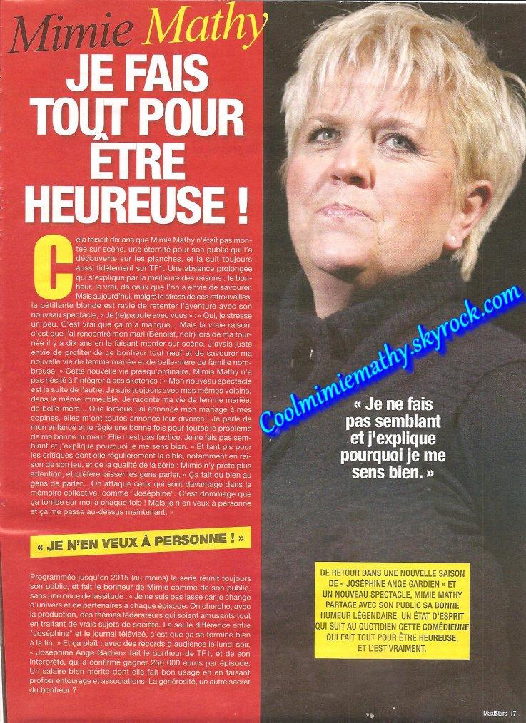 Magazine presse/interview  maxi stars n°10 novemnbre/décembre 2013 je fais tous pour être heureuse