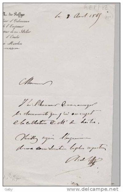 lettre du 2 août 1865 à Meudon du général Auguste de Reffye, officier d'ordonnance de l'empereur Napoléon III