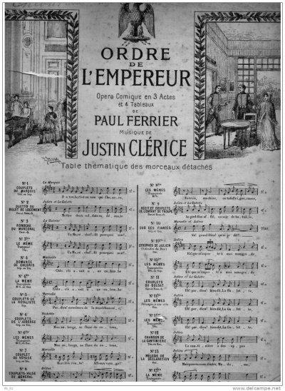 """livret de l'opéra comique de Paul Ferrier : """"Ordre de l'empereur"""" en 1902"""