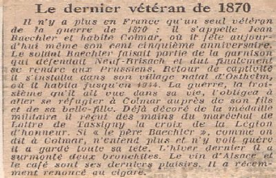hommage à Mr Jean Baechler, dernier vétéran de la guerre de 1870 en l'année 1954 (coupure de presse).