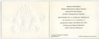 """carte d'invitation d'André Malraux pour l'exposition """"Souvenirs de la famille impériale de Napoléon 1er à Napoléon III"""" en 1968"""