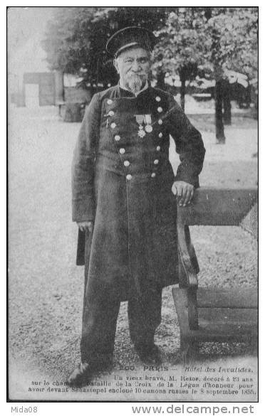 carte postale ancienne d'un vétéran de la guerre de Crimée (1855)