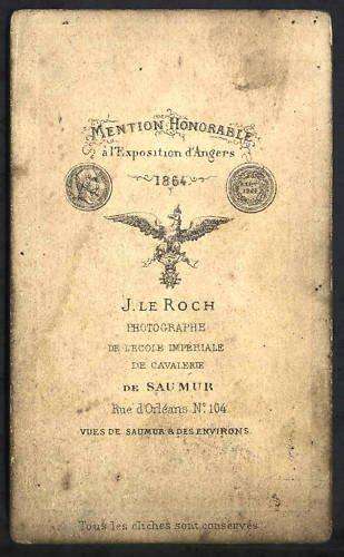 cdv lieutenant hussard de cavalerie de l'école impériale de Saumur en 1864