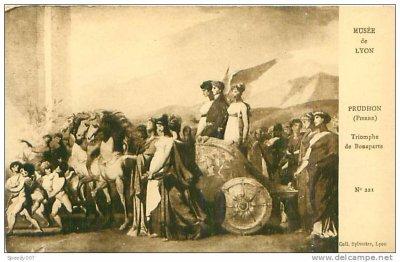 """carte postale ancienne : """"Le triomphe de Bonaparte"""" par Prudhon"""