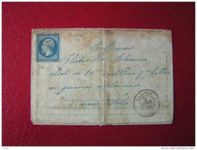 belle enveloppe de l'année 1860 adressée à un soldat de l'armée d'Italie en garnison à Plaisance