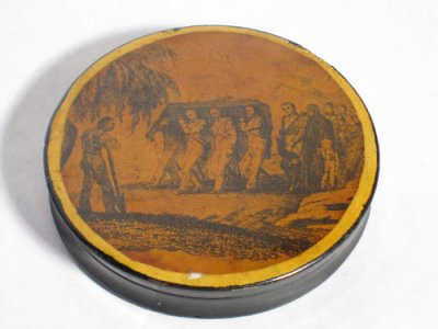 ancienne boite à tabac métallique du XIXème : enterrement de Napoléon 1er
