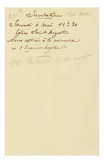 Invitation sur carte photo du prince Napoléon pour une messe célébrée en l'honneur de Napoléon 1er un 6 mai à 11h30 en l'église Saint Augustin à Paris