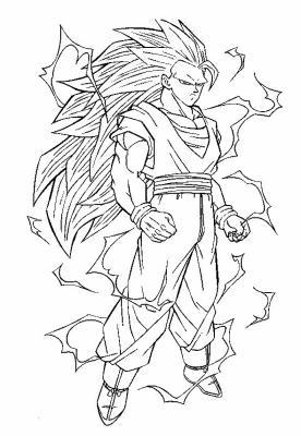 Goku ssj 3 dbz coloriage rare - Coloriage de goku ...
