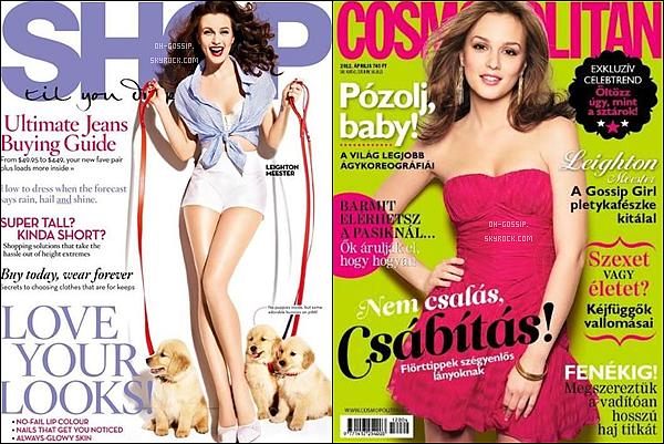 . Leighton est en couverture des magazines Shop til you drop (Australia) & Cosmopolitan (Hungary) pour le mois d'avril 2012  .