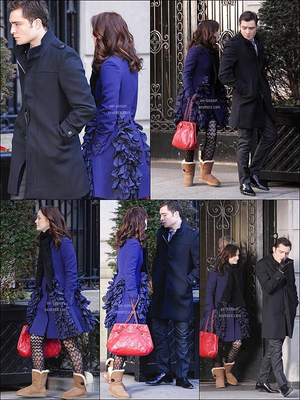. 11/01/10 | Leighton Meester était sur le set de Gossip Girl avec son partenaire Ed Westwick Alors que Leighton Meester portait sa doudoune habituelle, Blair Waldorf, elle, arborait un jolie manteau de couleur bleu. .