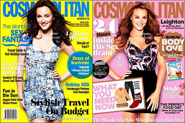 . Leighton en couverture des magazines Cosmopolitan Indonésien et Australien respectivement pour le mois de Juin et Juillet 2012  :.