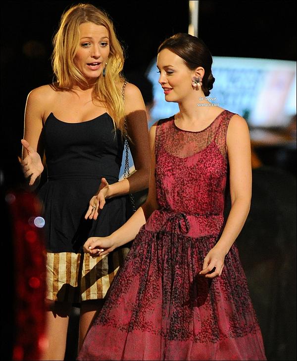 . 02/08/12 | Leighton Meester a été aperçu sur le set de Gossip Girl avec sa co-star la belle Blake Lively Penn B. et Chace C. se trouvaient également sur le set. Ils tournent actuellement l'épisode 6x03 intitulé « Dirty Rotten Scandals » .