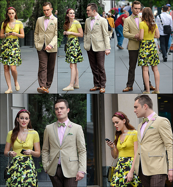 10/08/12 | Leighton  sur le set de Gossip Girl avec ses co-stars Ed Westwick et Kelly Rutherford à NYC