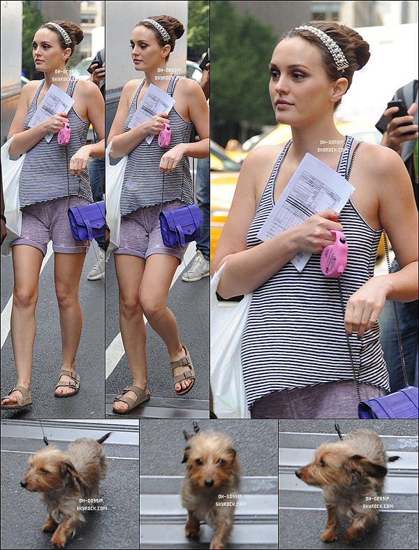 . 21/08/12 | Leighton Meester était à nouveau sur le set de Gossip Girl accompagné de son chien Trudy .