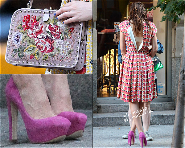 . 28/08/12 | Leighton sur le set de Gossip Girl avec sa tenue de grand-mère et son co-star Penn Badgley .
