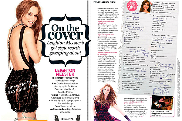 . Leighton est en couverture du magazine Cosmopolitan UK - Octobre 2012 .