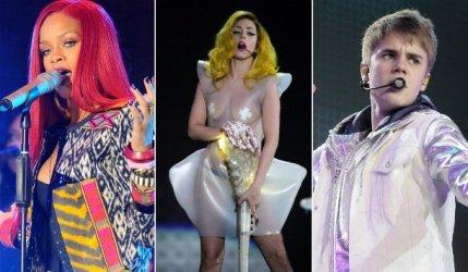 Rihanna, Lady Gaga et Justin Bieber