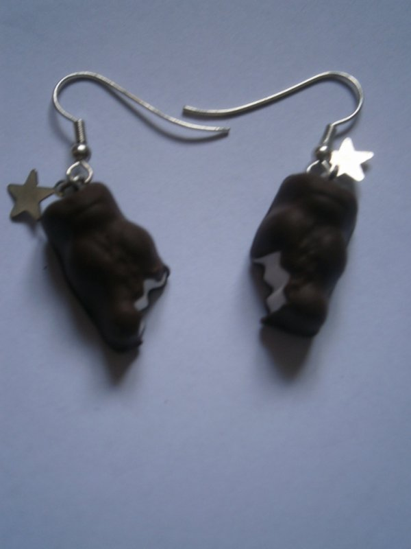 ARTICLE 77 : Boucles d'oreilles ourson choco-guimauve.