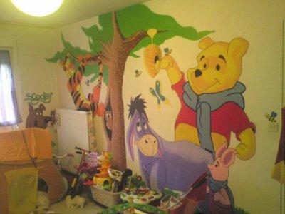 chambre enfant fresque winnie lourson 2eme mur - Chambre Winnie L Ourson