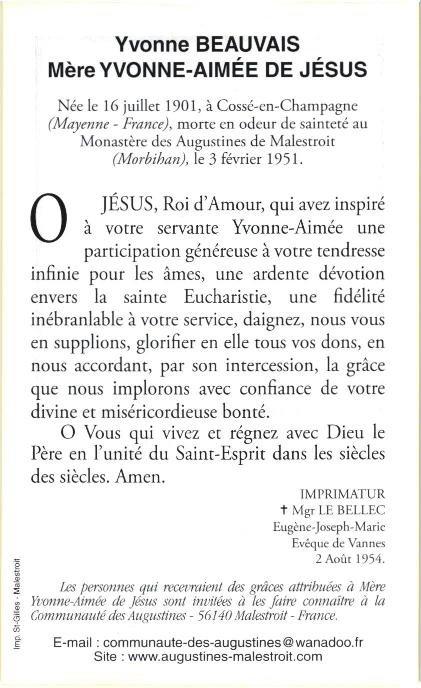 Prière à Mère Yvonne-Aimée de Jésus de Malestroit