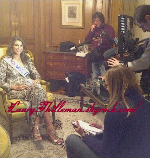 05/12/10 Notre belle miss France a été interviewé ce matin, pour le 19/45 de la chaîne M6 à l'hôtel de Crillion.Je trouve la robe vraiment magnifique, les chaussure aussi, qui lui vont à ravir, et la coiffure est vraiment belle. Ton avis ?
