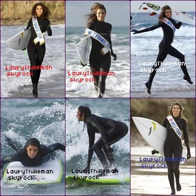 Laury fait du surf