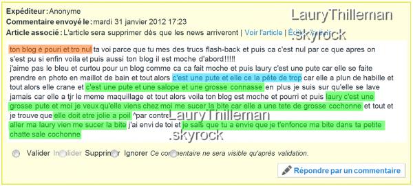 ARTICLE FLASH BACK Laury et une fan. Commentaire d'un pervers regardez les fautes et les atrocitées!