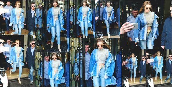 - 02.03.17 ─ Notre ravissante Gigi Hadid est photographiée alors qu'elle quittait son hôtel dans les rues de Paris ![/s#00000ize]Nous la retrouvons également pour le défilé Balmain à l'occasion de la fashion week. Les photos pour penshoppe sont sorties et elles sont très réussies !   -