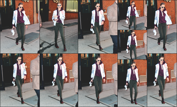 - 29.03.17 ─ Notre Gigi Hadid est photographiée alors qu'elle quittait le « Milk Studios » dans les rues de New York [/s#00000ize]Le Milk Studios est évidemment un studio de photographie situé en pleins New York. C'est certainement pour ca qu'elle est maquillé de la sorte. C'est top.   -