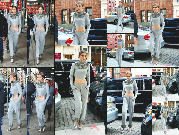 - 12.04.17 ─ Notre Gigi Hadid est photographiée alors qu'elle quittait son appartement dans les rues de New York ! [/s#00000ize]Quelques heures plus tard, elle est photographiée alors qu'elle revanait à son appartement, dans une tenue totalement différente d'ailleurs. Un petit flop.  -