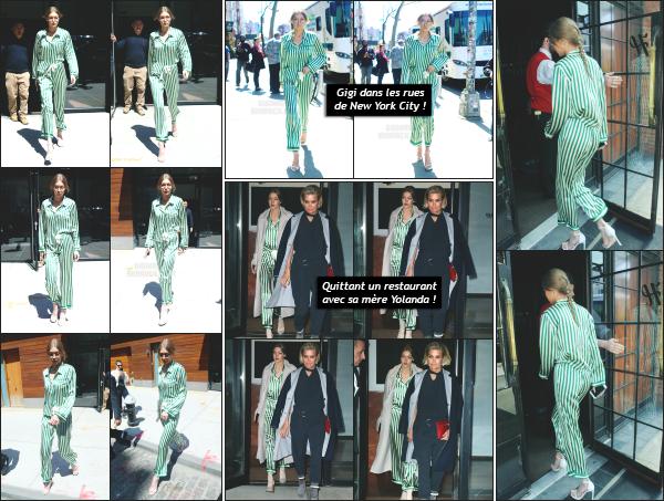 - 13.04.17 ─ Notre Gigi Hadid est photographiée alors qu'elle quittait son appartement dans les rues de New York ! [/s#00000ize]Ce jour là, elle est aperçue à plusieurs reprises dans les rues de New York, ainsi qu'avec sa mère le soir alors qu'elles quittaient un restaurant ensemble.  -